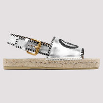 GUCCI Open Toe Casual Style Leather Elegant Style Logo Metallic