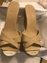Jimmy Choo Open Toe Casual Style Enamel Plain Leather Elegant Style