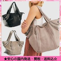 Free People Casual Style Studded Street Style Leather Totes