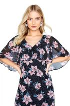 Little Mistress Flower Patterns Casual Style Maxi V-Neck Long Short Sleeves