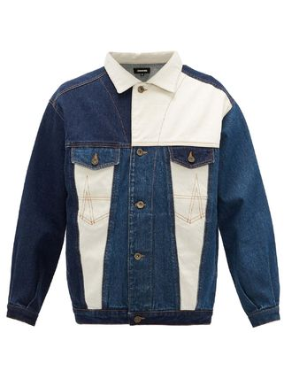 Short Unisex Street Style Bi-color Plain Denim Jackets