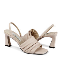 RACHEL COX Square Toe Leather Heeled Sandals