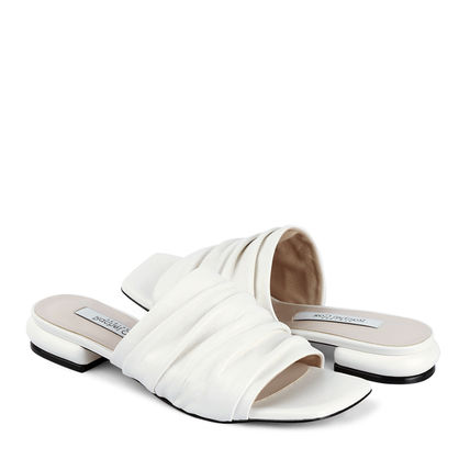 Square Toe Leather Mules Sandals