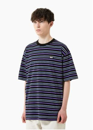 Crew Neck Stripes Unisex Street Style Cotton Short Sleeves