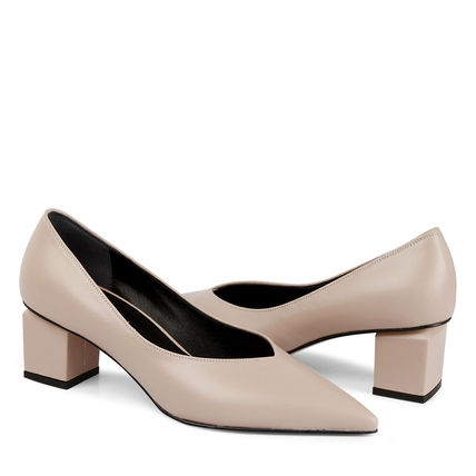 Leather Block Heels Block Heel Pumps & Mules