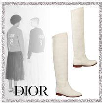 Christian Dior Casual Style Plain Leather Over-the-Knee Boots