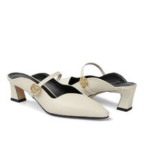 RACHEL COX Leather Block Heels Block Heel Pumps & Mules