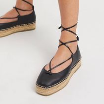 ASOS Square Toe Platform Casual Style Faux Fur Plain Leather