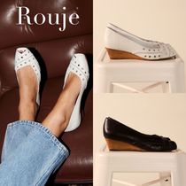 Rouje Open Toe Casual Style Plain Leather Elegant Style