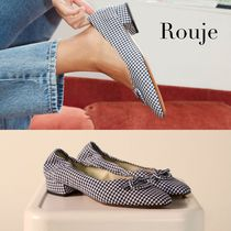 Rouje Gingham Open Toe Casual Style Leather Elegant Style