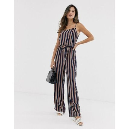 Dungarees Stripes Casual Style Dresses
