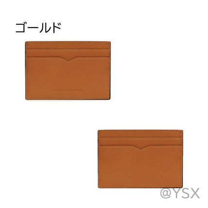 Unisex Calfskin Plain Leather Logo Card Holders