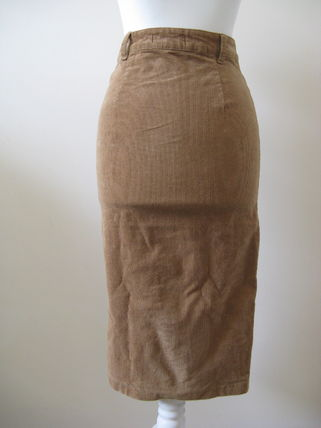 Pencil Skirts Casual Style Street Style Plain Cotton Long