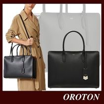 OROTON Calfskin Saffiano A4 2WAY Plain Leather Office Style