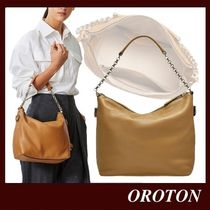 OROTON 2WAY Plain Leather Office Style Elegant Style Crossbody