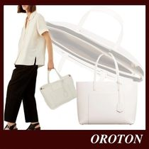 OROTON Casual Style Saffiano A4 Plain Leather Office Style