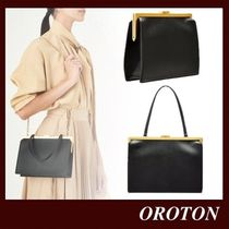 OROTON Calfskin Plain Leather Party Style Elegant Style