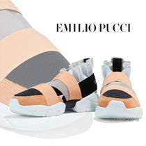 Emilio Pucci Round Toe Rubber Sole Casual Style Suede Leather Icy Color