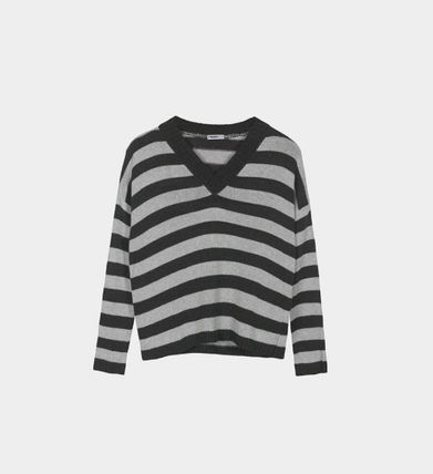 Short Stripes Casual Style V-Neck Long Sleeves Cropped