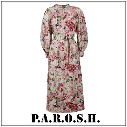 Flower Patterns Casual Style A-line Long Sleeves Cotton