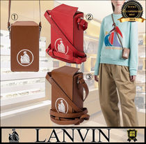 LANVIN Casual Style Leather Crossbody Logo Shoulder Bags