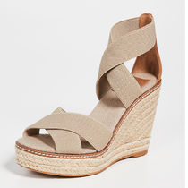 Tory Burch Open Toe Platform Plain Leather Platform & Wedge Sandals