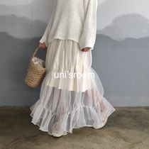 Flared Skirts Casual Style Maxi Chiffon Blended Fabrics