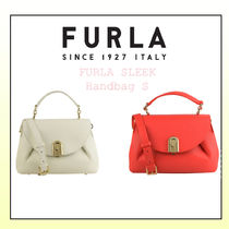 FURLA Casual Style Vanity Bags 2WAY Plain Leather Party Style