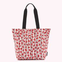 Lulu Guinness Stripes Heart Casual Style Nylon A4 Office Style Totes
