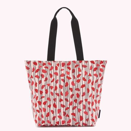 Stripes Heart Casual Style Nylon A4 Office Style Totes