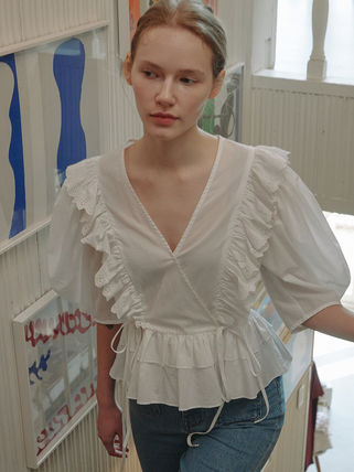 Short Sleeves Lace Shirts & Blouses