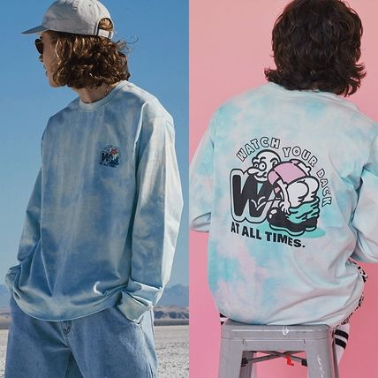 WKNDRS Long Sleeve Crew Neck Pullovers Unisex Street Style Tie-dye Long Sleeves
