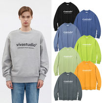vivastudio Crew Neck Unisex Street Style Long Sleeves Plain Cotton