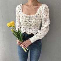 Short Flower Patterns Casual Style Long Sleeves Plain