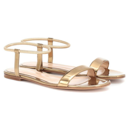 Round Toe Casual Style Plain Leather Strap Sandals