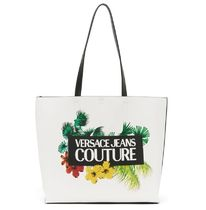 VERSACE JEANS Casual Style Faux Fur Street Style A4 2WAY Logo Totes