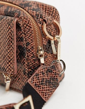 Casual Style Leather Python Crossbody Shoulder Bags