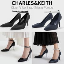 Charles&Keith Casual Style Faux Fur Blended Fabrics Plain Pin Heels