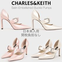 Charles&Keith Casual Style Plain Pin Heels Party Style With Jewels