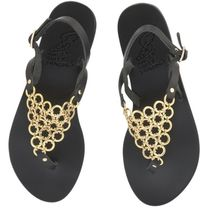 ANCIENT GREEK SANDALS Open Toe Casual Style Plain Leather Party Style