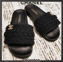 CHANEL ICON Open Toe Platform Casual Style Blended Fabrics Bi-color