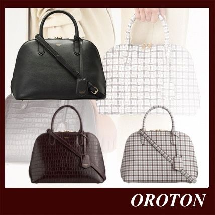 Casual Style Saffiano 2WAY Plain Leather Office Style