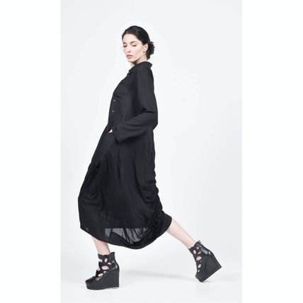 Front Button Casual Style Maxi A-line Long Sleeves Plain