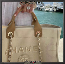 CHANEL DEAUVILLE Unisex Blended Fabrics Chain Mothers Bags
