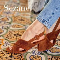 SEZANE Plain Leather Sandals Sandal