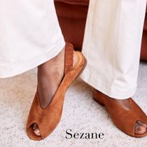 SEZANE Open Toe Platform Plain Leather Footbed Sandals Flat Sandals