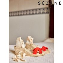 SEZANE Open Toe Plain Platform & Wedge Sandals