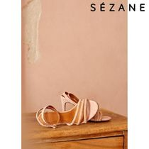 SEZANE Open Toe Plain Leather Sandals Sandal