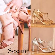 SEZANE Open Toe Plain Leather Pin Heels Mules Heeled Sandals