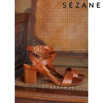 SEZANE Open Toe Plain Leather Block Heels Mules Heeled Sandals